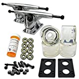 YOCAHER LONGBOARD Skateboard TRUCKS COMBO set w/ 71mm WHEELS + 9.675' Polished / Black trucks Package - Free shipping, Gel Clear Wheel, Polished Trucks