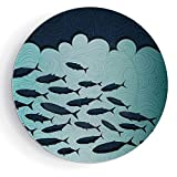 iPrint 8'' Ceramic Decorative Plates Ocean Animal Decor Pattern Ceramic Plate Surreal Graphic Ornate Swirl Waves and Group of Fish Nautical Theme