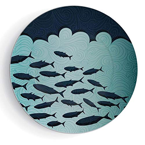iPrint 8'' Ceramic Decorative Plates Ocean Animal Decor Pattern Ceramic Plate Surreal Graphic Ornate Swirl Waves and Group of Fish Nautical Theme by iPrint