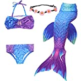 GALLDEALS 3PCS Girls' Swimsuit Mermaid Tail For Swimming Princess Bikini Set Swimsuit Bathingsuit