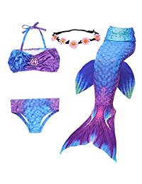 GALLDEALS Mermaid Tails Swimming Girls Bikini Set Swimsuit No Monofin