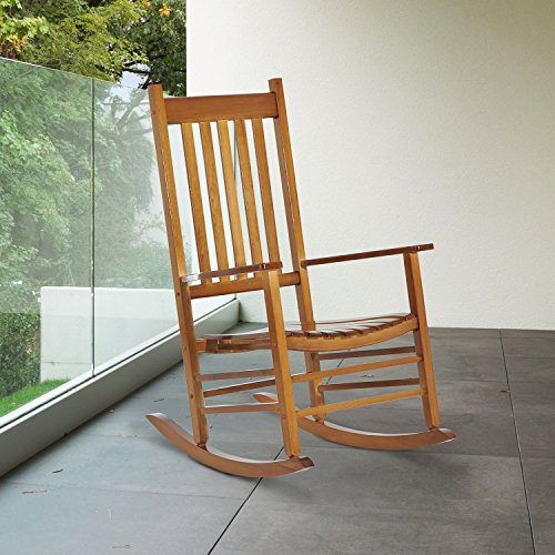 NEW Poplar wood color, Wooden Rocking Chair Porch Rocker Balcony Deck Outdoor Garden Seat Living Room