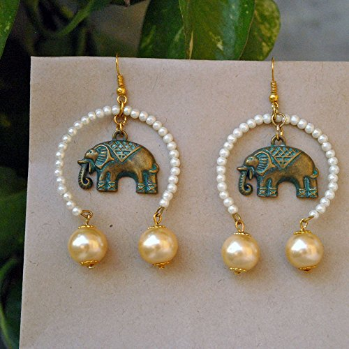 Elephant earrings, antique finish, golden and white pearls, inverted hoops, Indian Costume Jewelry, hook closure, Unique Ethnic Fusion]()