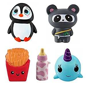 Jumbo Squishies 5pcs Squishy Toys, Super Slow Rising, Kawaii with Penguin, Ninja, Fries, Bottle, and Narwhal - Great for Stress Relief, Gifts or Prop Toys - For Kids or Adults
