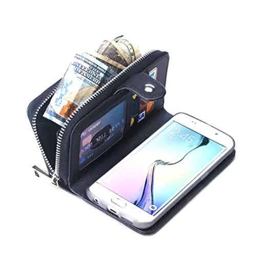 Dreams Mall(TM)New Arrival 2 in 1 Premium Weave Pattern PU Leather Wallet Purse Case Protection for Samsung Galaxy S6 Edge Plus with Stand Flip Cover and Strap-Black