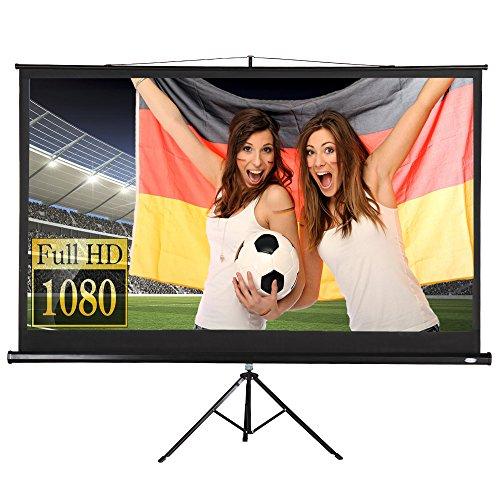 Beamer Leinwand Heimkino mit Stativ 221x125cm (254cm Bilddiagonale / 100Zoll) HDTV/3D tauglich