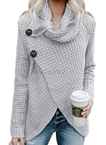 Asvivid Womens Fall Button Turtle Cowl Neck Long Sleeve Sweater Asymmetric Wrap Comfy Soft Loose Pullover Tops Amazon Plus Size 1X Grey
