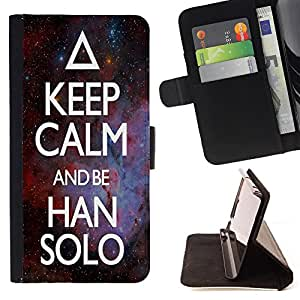 Super Marley Shop - Leather Foilo Wallet Cover Case with Magnetic Closure FOR LG Optimus G2 D800 D801 D802 D803 VS980 F320- Keep Calm And be Han Solo Space