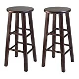 Winsome 29-Inch Square Leg Bar Stool, Antique Walnut, Set of 2