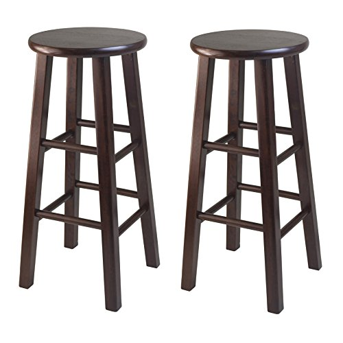 Winsome 29-Inch Square Leg Bar Stool, Antique Walnut, Set of 2 ()