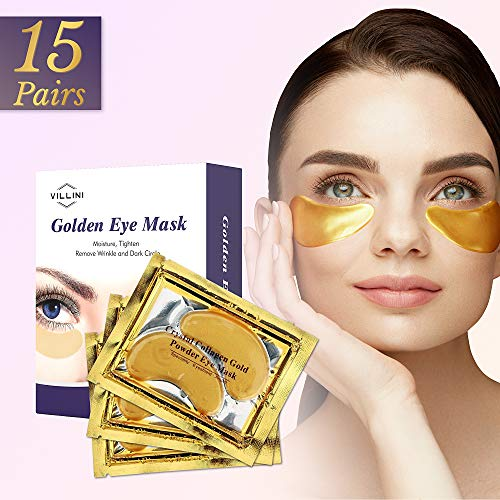 51RZDhwXszL - VILLINI Under Eye Patches - 24K Gold Eye Mask - Anti-Aging Under Eye Pads - Eye Wrinkle Patches - Hydrogel Eye Treatment Mask for Puffy Eyes and Dark Circles - 15 Pairs