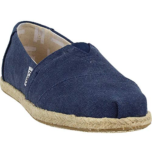 TOMS Women's Seasonal Classics Navy Washed Canvas Rope Sole 8.5 B US
