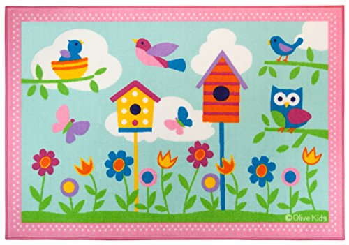 Wildkin Play Rug, Children's 39 x 58 inch Rug, Durable, Vibrant Colors That Will Last, Perfect for Nurseries, Playrooms, and Classrooms, Ages 3+, Olive Kids Design - Birdie (Hampshire Rugs New)