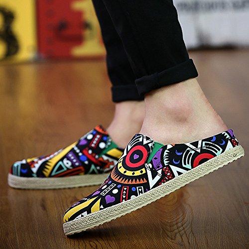 夏リネンと靴メンズCool and semi-slippersインドアレジャーサンダル B07BFTLD4J UK6|The black flower The black flower UK6