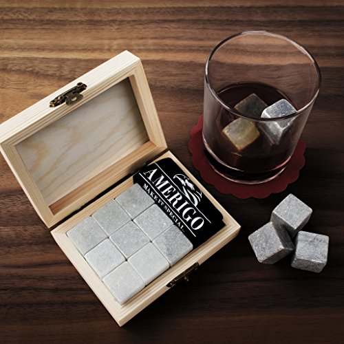 -[ Luxury Whisky Stones Gift Set by Amerigo - Set of 9 Whisky Rocks - Reusable Drinking Ice Stones