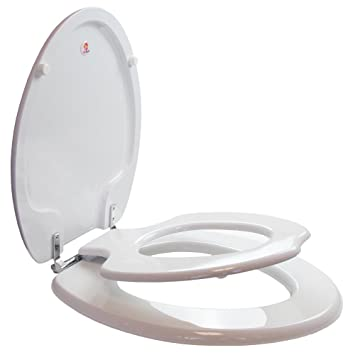 TOPSEAT TinyHiney Potty Elongated Toilet Seat  Adult Child w Chromed Metal Hinges