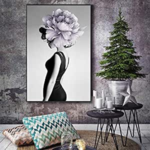 RTCKF Elegante Mujer Lienzo Pintura en Blanco y Negro ...