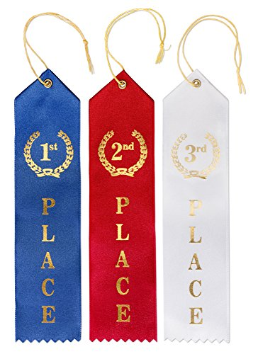 Award Ribbons (Pack Of 90) By Senjo - 1st, 2nd & 3rd Place Recognition Reward Ribbon - Blue, Red & White Colors Featuring Gold Prints - Event Card - Ideal For Competitions, Events & Sports