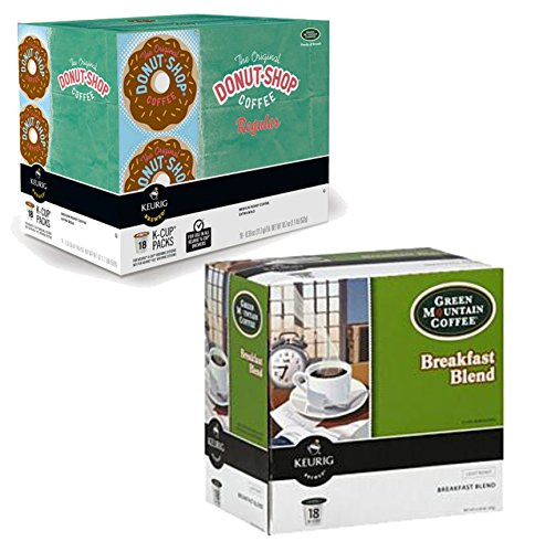 K-Cup Coffee Bundle | Includes One Each of The Original Donut Shop Regular Keurig K-Cup Pack, 18 Count and Green Mountain Coffee Breakfast Blend, Keurig K-Cups, 18 Count (Duncan Donuts K Cups Decaf)