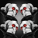 4 x 6mm DIY 3D Design Decoration Chrome Skull Red Eye License Plate Lic Tag Frame Bolts Set Universal Fit Car Light Truck
