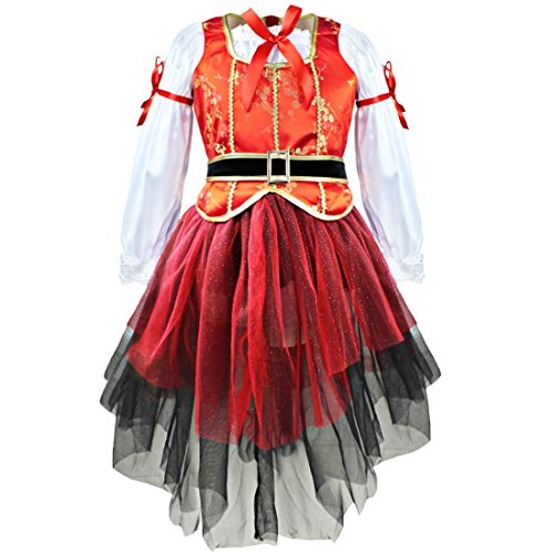 Agoky Princess Kids Girls 3PCS Seas Pirate Costume for Halloween Cosplay Party Red 5-6 ()