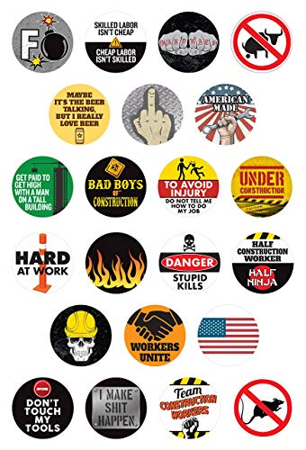 Hard Hat Stickers and Tool Box Stickers | Funny Decals for Construction Workers, Motorcycle Helmets, Mechanics, Electricians, Union Workers | Set of 22 | WATERPROOF!