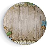 iPrint 8'' Porcelain Dinner Plate with Stand Pearls Decoration with Plate Stand Rustic Wooden Surface with Flowers Pearls Lace Texture Old Vintage Style Decor Image