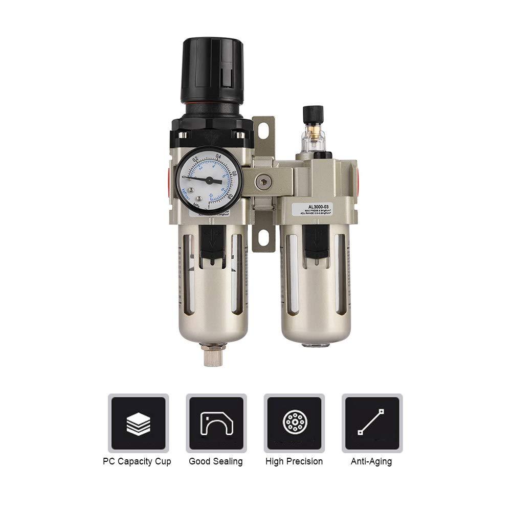 Air Filter Regulator 3/8'',Combo Piggyback Air Compressor Pressure Regulator,Aluminum Alloy Miniature Lubricator Moisture Trap Water Filter by Jectse