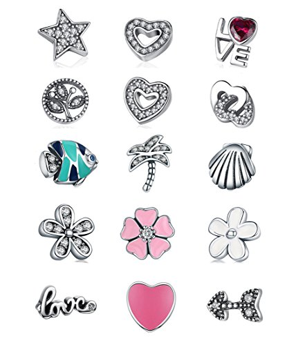 BAMOER 925 Sterling Silver Petite Memory Charms for Women Locket Neckalce (Daisy Charm) (Charm Petite Necklace)