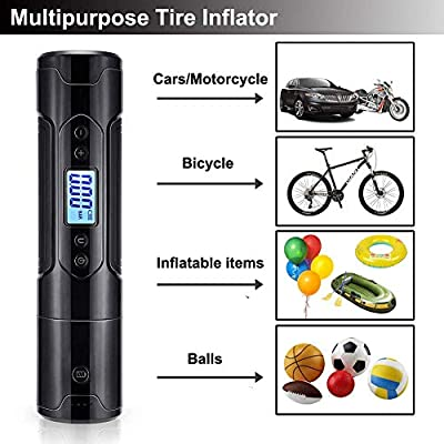 Portable Air Compressor Handheld Mini Bike Tire Pump Electric Tire Inflator for Car Tires Motorcycle Bicycle Bike Volleyball Basketball, with Digital Gauge LED Light LCD Display 1000mAh DC 12V: Automotive