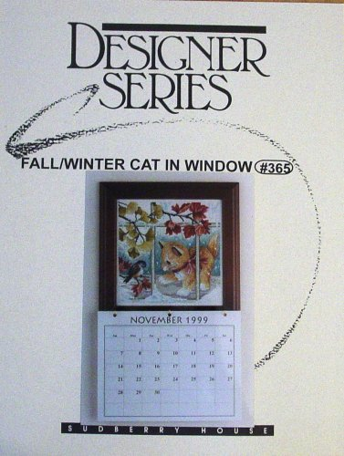 Designer Series, Fall/winter Cat in Window #365, Cross Stitch (Sudberry House Craft Leaflet) -