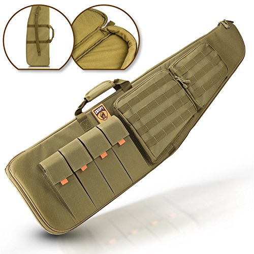 Tactical Assault Rifle Case - CrispyBear Tactical Scoped Rifle Case: Military Fabric Gun Holder with 3D Protection, MOLLE System, Storage Pockets plus Universal Cleaning Kit with Ear Plugs