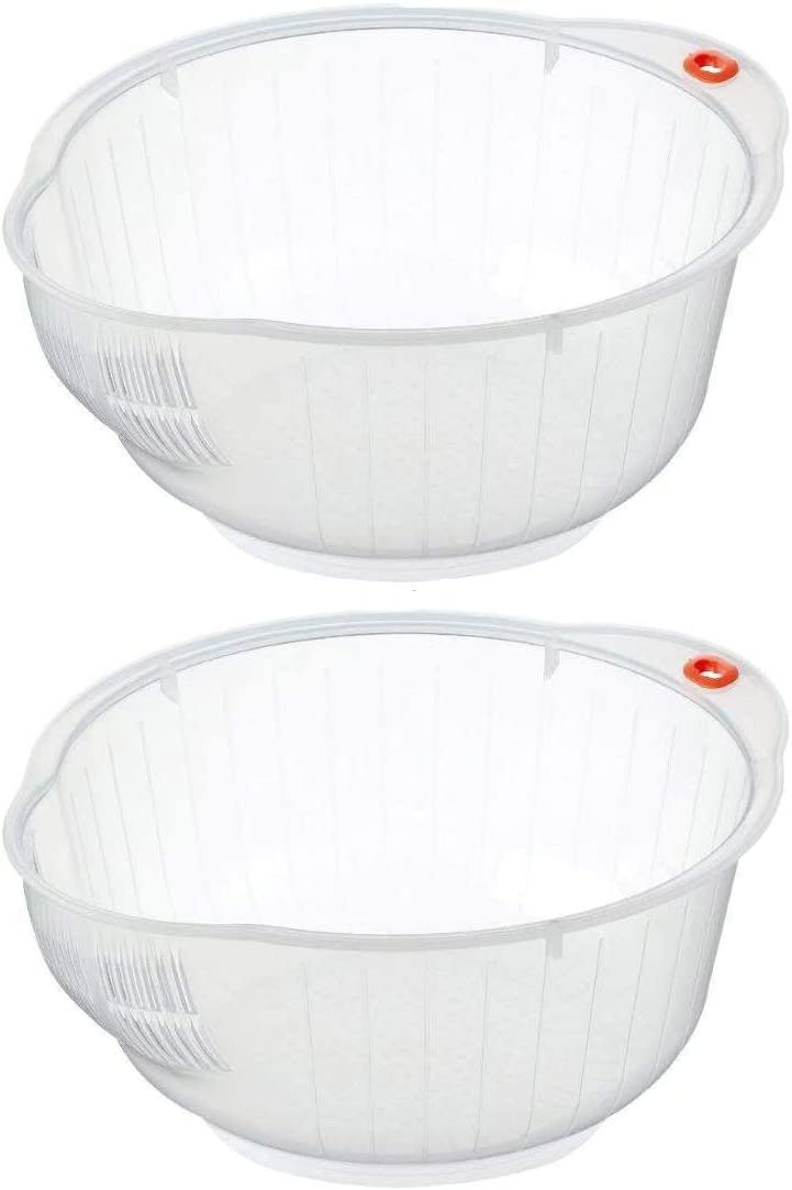 Inomata Delicious, Japanese Rice and Vegetable Washing Bowl with Side and Bottom Drainers Value Bowls, Set of 2