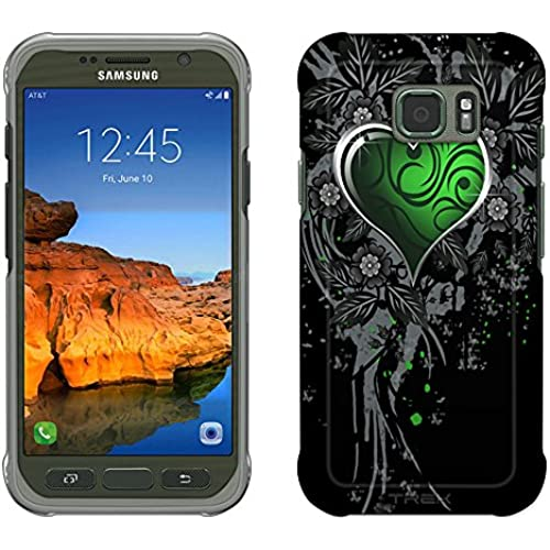 Samsung Galaxy S7 Active Case, Snap On Cover by Trek Highlighted Heart Green on Black Slim Case Sales