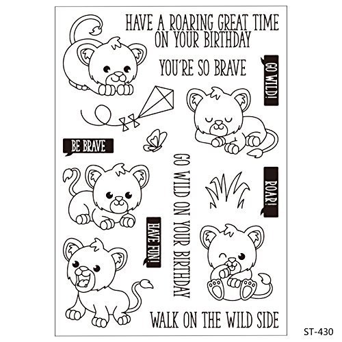 Cartoon Lion Clear Stamps for Scrapbooking DIY Decor Card Marking Crafts Supplies