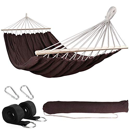Anyoo Garden Hammock with Wooden Spread Bars Portable Compact Single Hammock with Travel Bag Perfect for Patio Yard Outdoors