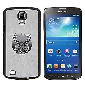 KLONGSHOP // Cubierta de piel con cierre a presión Shell trasero duro de goma Protección Caso - Ciervo B & W Búho - Samsung Galaxy S4 Active i9295 //