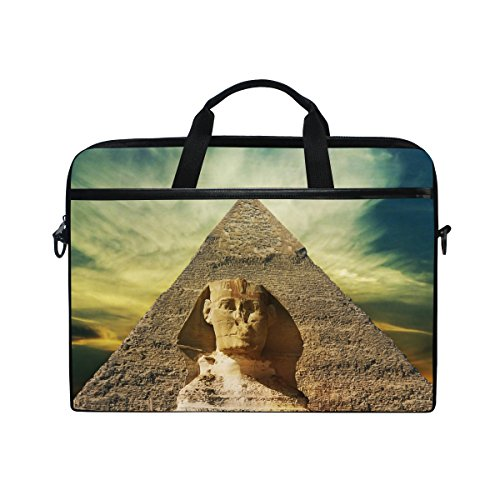 - Egyptian Sphinx And Pyramid 14 Inch Laptop Shoulder Messenger Bag Case Sleeve Briefcase with Handle for Women Men