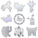 Dies Cut Metal Cutting Dies Stencils Animals Birds Butterfly Deer Swan Elephant Cow Horse Whale for DIY Scrapbooking Photo Album Decorative Embossing DIY Paper Cut Cards Craft(Dies 19)
