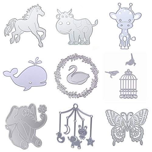 Dies Cut Metal Cutting Dies Stencils Animals Birds Butterfly Deer Swan Elephant Cow Horse Whale for DIY Scrapbooking Photo Album Decorative Embossing DIY Paper Cut Cards Craft(Dies 19)
