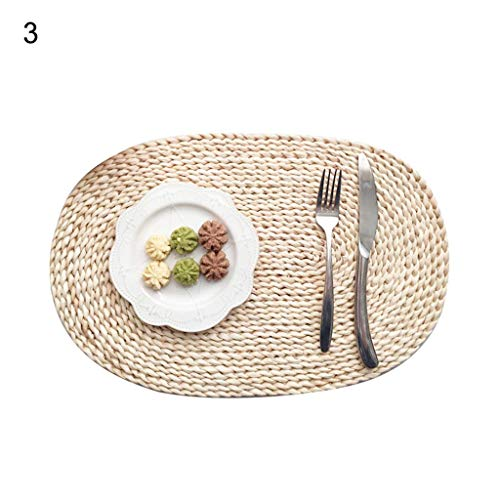 (Viet's Hand Rattan Placemats - Insulation Placemat Rattan Weave Round Oval Placemat Dining Table Heat Insulation Mat Kitchen Decor - Oval 30x45cm)