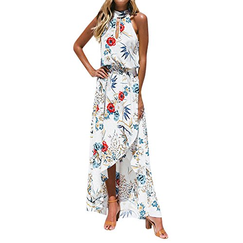 Goddessvan Women Boho Floral Long Maxi Dress Sleeveless Evening Party Summer Beach Sundress Flowy Front Slit High Low White (Best Holiday Cocktail Dresses)