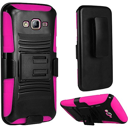 2Layer Rugged Case Cover w/Holster Belt Clip for Samsung Galaxy On5 [Model: SM-G550 G550T G550T1 S550TL G550FY] Phone (Black on Pink)