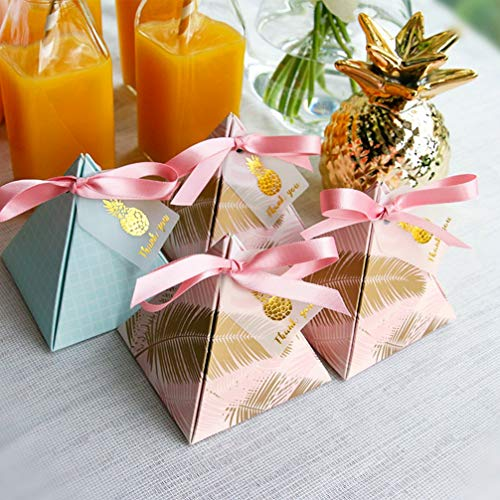 MEIZOKEN 30Pcs Pink Pineapple Triangular Flower Feather Paper Chocolate Candy Boxes Wedding Decor Favors Party Gift Bag with Ribbons Tags