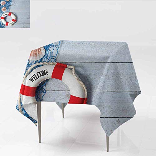 DILITECK Washable Tablecloth Buoy Welcome on Board Message on Lifebuoy with Fishing Net Seashell Wood Floor of Boat for Kitchen Dinning Tabletop Decoration W70 xL70 Dust Blue Red ()