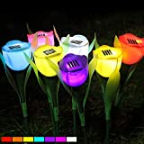 8pcs/lot led solar light outdoor garden light Yard Path Way Rose Flower solar lamp Landscape Lawn Lamp