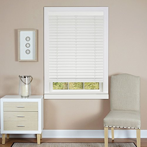 Plantation Collection Set of 2 Cordless Madera Falsa 2-Inch Faux Wood Blinds - White - 35