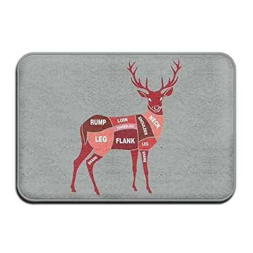 HomeDailyLife Indoor Entrance Custom Doormat Deer Meat Cuts Design Pattern Kitchen 15.7