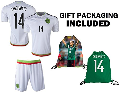 Mexico Youth Jersey Chicharito #14 Kids Home Jersey + Shorts + Chicharito #14 Drawstring Backpack Bag World Cup Futbol Jersey for Boys Football Fans (YM 8-10 Years, Away Short Sleeve)