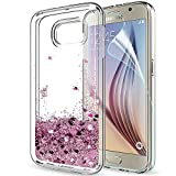 LeYi Galaxy S6 Case with Screen Protector, Girl Women 3D Glitter Liquid Moving Cute Personalised Clear Transparent Silicone Gel TPU Shockproof Phone Cover for Samsung S6 Rose Gold (Pink)